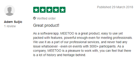 "Meetoo Trustpilot Review - ""great product!"""