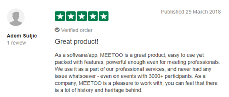 "Vevox Trustpilot Review - ""great product!"""