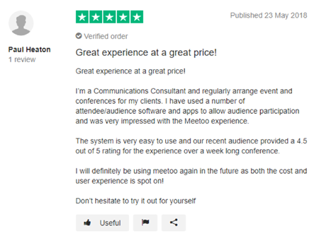 "Meetoo Trustpilot Review - ""Great experience, great price"""