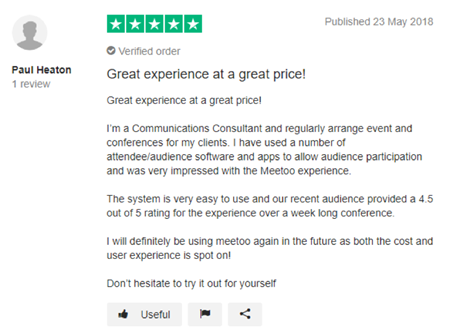 "Vevox Trustpilot Review - ""Great experience, great price"""
