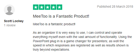 "Vevox Trustpilot Review - ""fantastic product"""