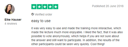 "Vevox Trustpilot Review - ""easy to use"""
