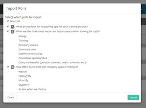 Importing polls into Vevox