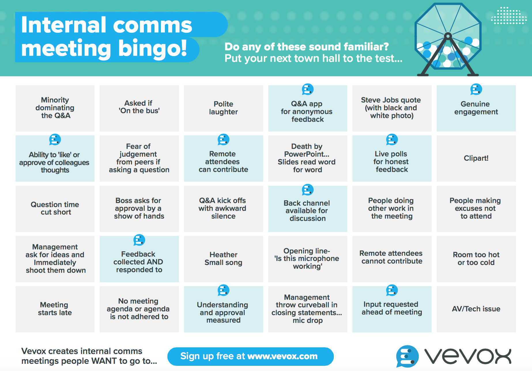 Internal Comms Meeting Bingo