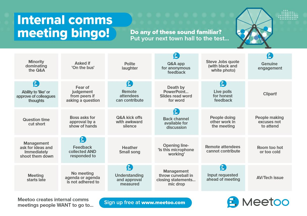 Internal Comms Meeting Bingo...